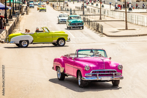 Fotobehang Havana Old vintage retro cars on the road in the center of Havana, Cuba