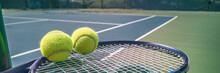 Tennis Court Panorama Background With Blue Racket And Two Tennis Balls Ready To Play Match On Outdoor Courts Summer Sport Lifestyle. Mobile Photo Picture.