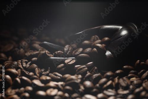 Fond de hotte en verre imprimé Salle de cafe coffee beans in an ebony hand, stylish background