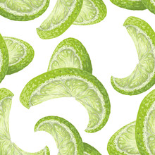 Vector Art, Seamless Pattern With Hand-drawn Harvest Juicy, Delicious Rich Wet Yellow Lime Pieces, With Highlights, Beautiful Peel Of A Lime. Realistic, Like Paint. Ripe, Juicy, Tasty Citrus