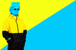 Leinwanddruck Bild - Collage of contemporary art. Concept. Gypsum head of Apollo's in sunglasses. A man in a jacket. On a yellow and blue background.