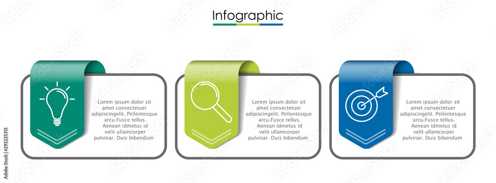 Fototapeta Vector infographic template with three steps or options. Illustration presentation with line elements icons.  Business concept design can be used for web, brochure, diagram