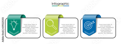Fototapeta Vector infographic template with three steps or options. Illustration presentation with line elements icons.  Business concept design can be used for web, brochure, diagram obraz