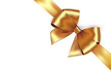 Shiny Golden Satin Ribbon. Vector Gold Bow For Design Discount Card