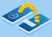 Isometric Money Transfer Online. Money Wallet And Financial Savings Transfer Or Pay Transaction Concept.