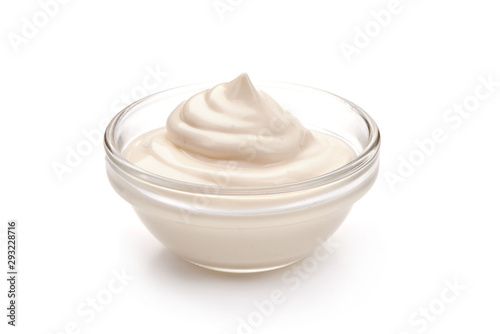 Fotografie, Obraz  Bowl of sour cream, isolated on white background
