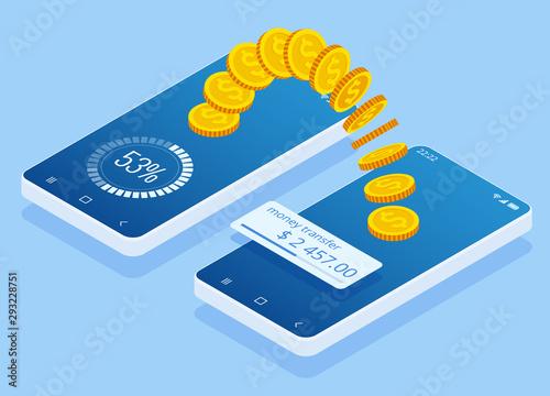 Carta da parati Isometric money transfer online