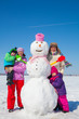 Leinwandbild Motiv family  on winter vacation
