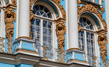 Facade Of Catherine Palace In Tsarkoe Selo, Pushkin, Saint Petersburg, Russia