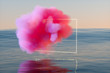 Leinwandbild Motiv Pink cloud over sea, 3D rendering
