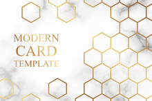 Modern Geometric Luxury Card Template For Business Or Presentation Or Greeting With Golden Honeycombs On A White Marble Or Clouds Background.