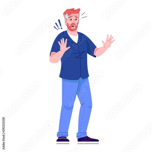 Fotografia Scared man flat vector illustration