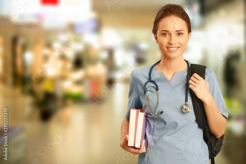 Fotografia Nurse student with books and stethoscope
