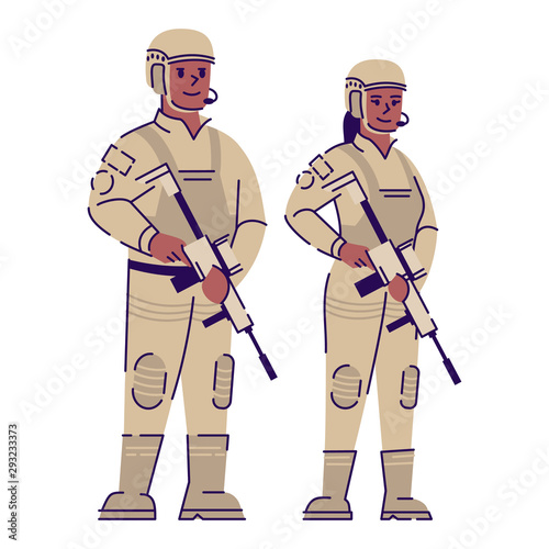 Valokuva Soldiers flat vector character