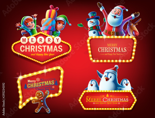 Canvas Prints Textures happy christmas badges and sign light