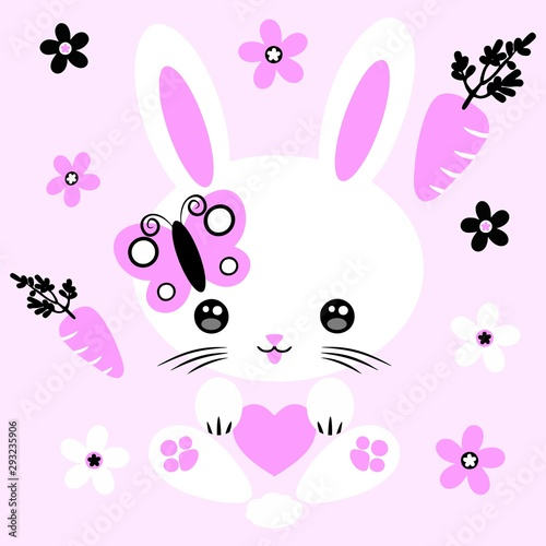 Tuinposter Draw Bunny Kawaii Pink Cute Character Vector Illustration