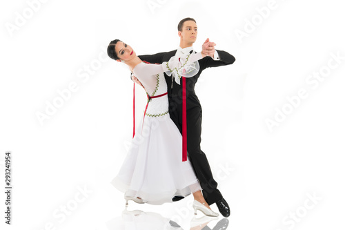 ballroom dance couple in a dance pose isolated on white background Fototapete