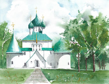 Landscape Scenic  Russian Orthodox Church In The Woods Landmark Watercolor Painting
