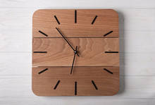 Top View Of Wooden Clock With ...