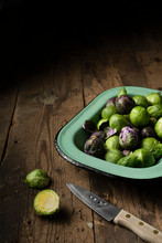 Raw Brussel Sprouts In A Vinta...