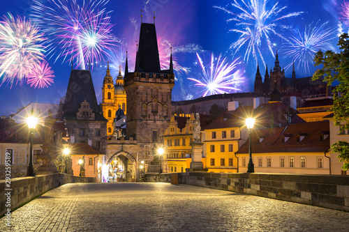 Obraz Fireworks display over the Charles bridge in Prague, Czech Republic - fototapety do salonu