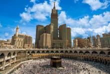 Skyline Of MECCA SAUDI ARABIA,April-2018, Royal Clock Tower In Makkah,MECCA.clound Blue Sky Background,