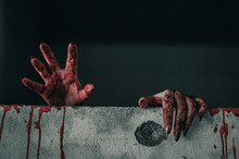 Horror Ghost Woman Stretches Her Hand With Resentment  Torture And Ask For Help With Blood In Hand, Halloween Murder Concept.