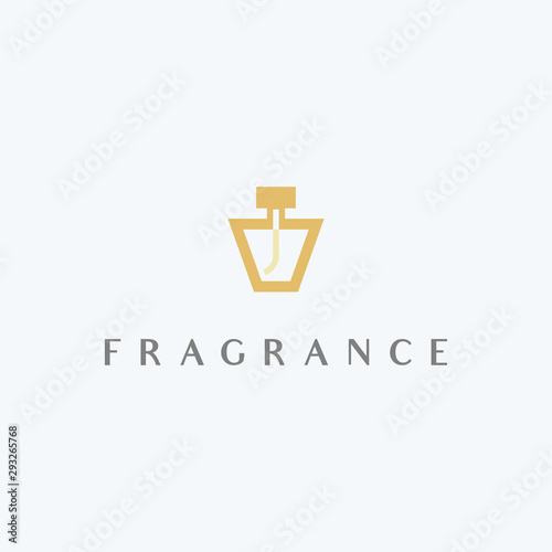 Abstract fragrance logo design. Perfume bottle icon illustration vector