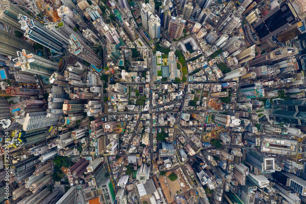 Fototapeta Top view of Hong Kong city