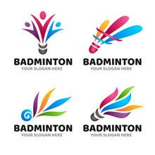 Colorful Badminton Shuttlecock Creative Logo Symbol