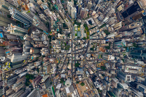 Fotografia, Obraz Top view of Hong Kong city