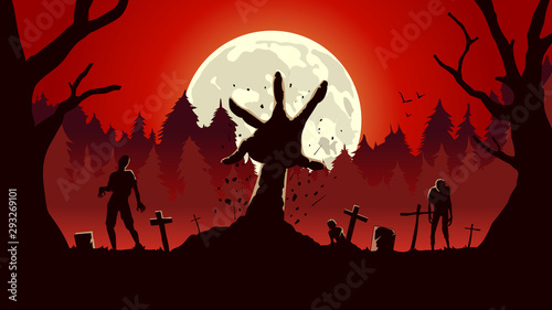 Zombie arm out from ground of grave in a full moon night and red sky. Silhouette background for horror concept.