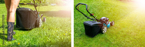 Photo sur Toile Jardin Mowing lawns. Lawn mower on green grass. mower grass equipment. mowing gardener care work tool close up view sunny day. Soft lighting