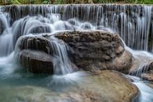 Famous Tourist Spot, Kuang Si Waterfall In North Laos Near Luang Prabang