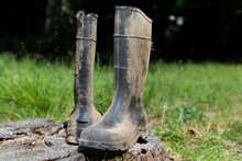 Farm Work Boots With Dry Mud