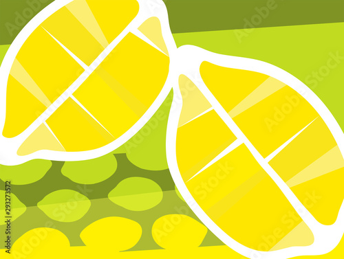 Abstract fruit design in flat cut out style. Lemons cut in half. Vector illustration.
