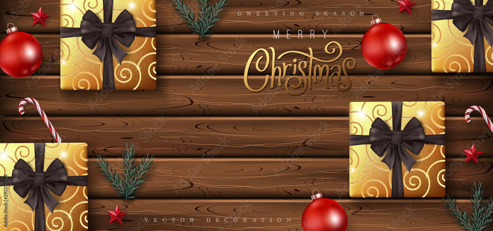 Fototapety, obrazy: Christmas Decorative Border made of Festive Elements Background .Merry Christmas vector text Calligraphic Lettering Vector illustration.Flat lay, top view, copy space