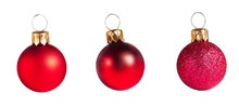 Red  Christmas Baubles  Isolat...