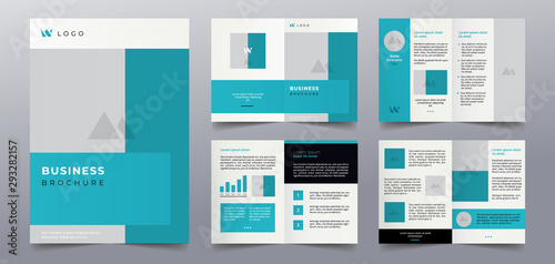 Photo premium blue business brochure pages design template