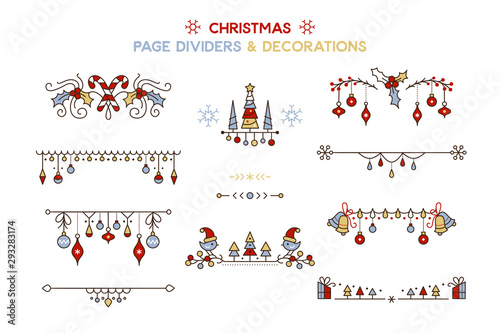 Foto  Christmas color vector decorative borders set
