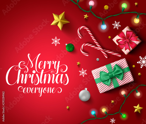 Christmas vector in red background template. Merry christmas everyone typography in red empty space for text and messages with gifts, candy cane, lights, balls, snowflakes, and golden stars.
