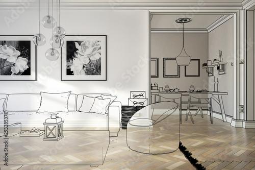 Ramgestaltung: Apartment (Teilzeichnung) Canvas Print