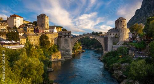 Poster Taupe Mostar, Bosnia and Herzegovina-September 2019:The Old Bridge, Stari Most, with river Neretva