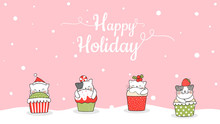 Draw Banner Cute Cat In Cupcake For Christmas.