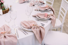 Luxurious Wedding Table Decoration For Reception Of Guests With Stylish Napkins, Cute Natural Flower
