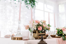 Pink Candles In Tall Glass Can...