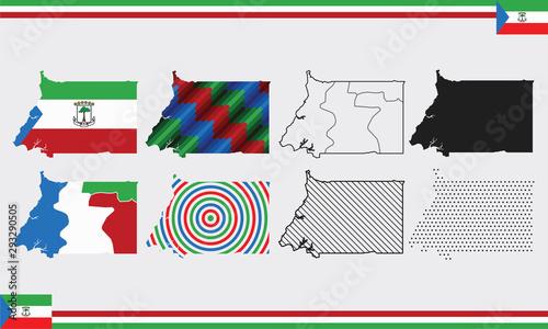 Cuadros en Lienzo Equatorial Guinea Map Vector Set