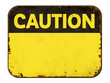 canvas print picture Empty vintage tin caution sign on a white background