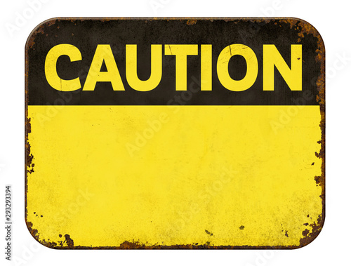 Obraz Empty vintage tin caution sign on a white background - fototapety do salonu