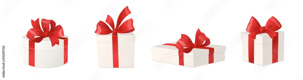 Fototapeta Cartoon gift boxes with red bows isolated on white background, vector illustration.
